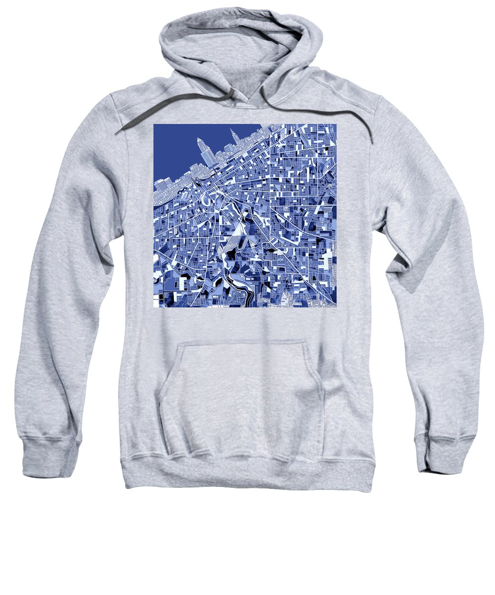 Cleveland Sweatshirt featuring the painting Cleveland Map Blue by Bekim Art