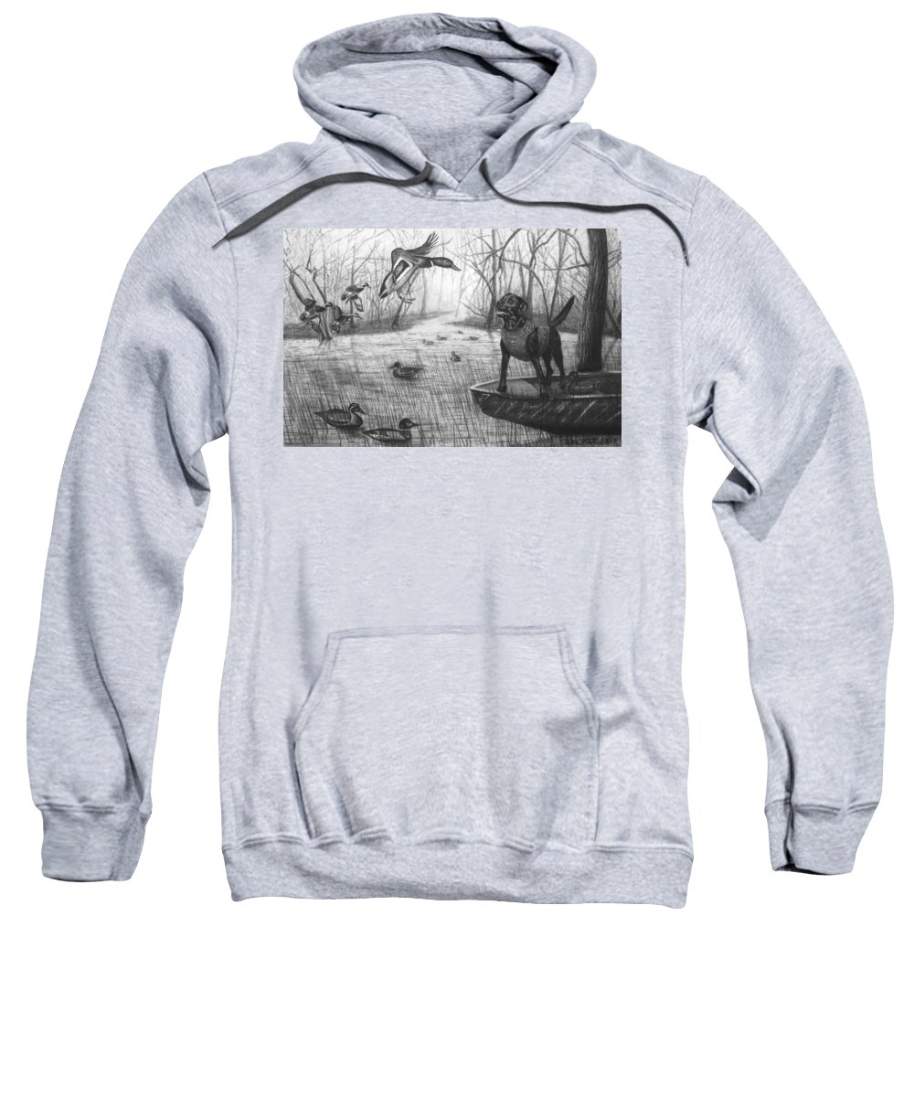 Cloaked Sweatshirt featuring the drawing Cloaked by Peter Piatt
