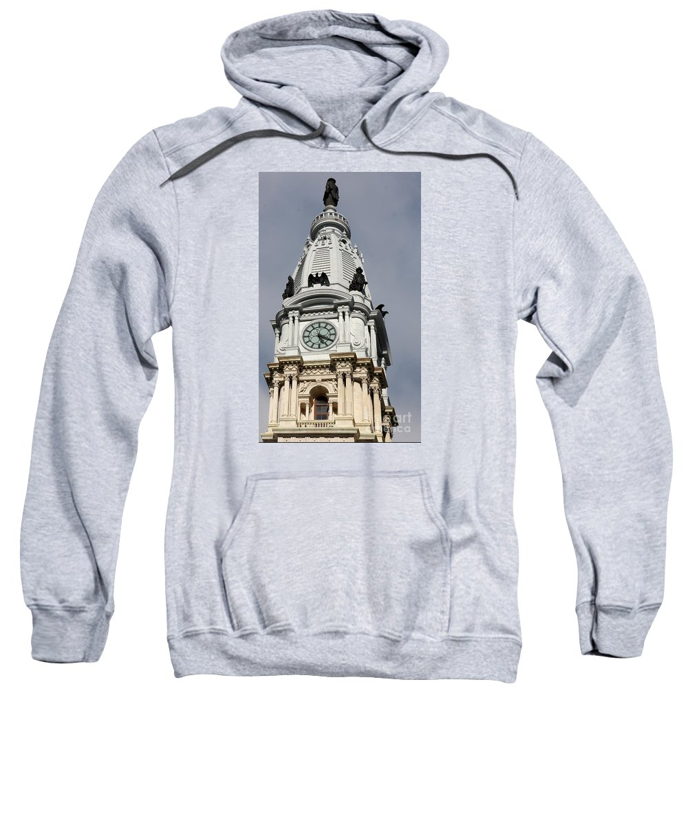 Clock Tower Sweatshirt featuring the photograph Clock Tower City Hall - Philadelphia by Christiane Schulze Art And Photography