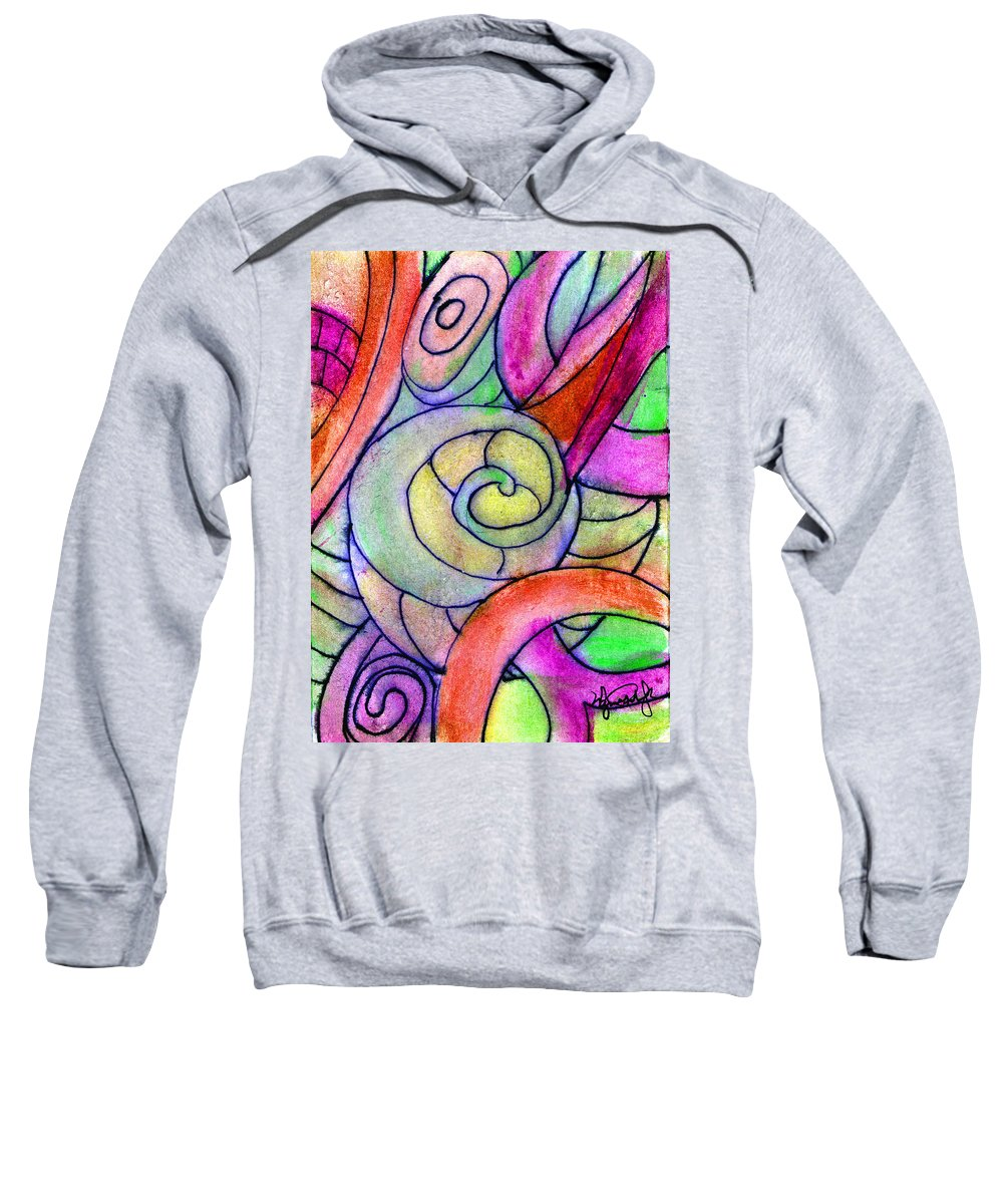 Abstract Sweatshirt featuring the painting Close Up In The Garden Brightly by Wayne Potrafka
