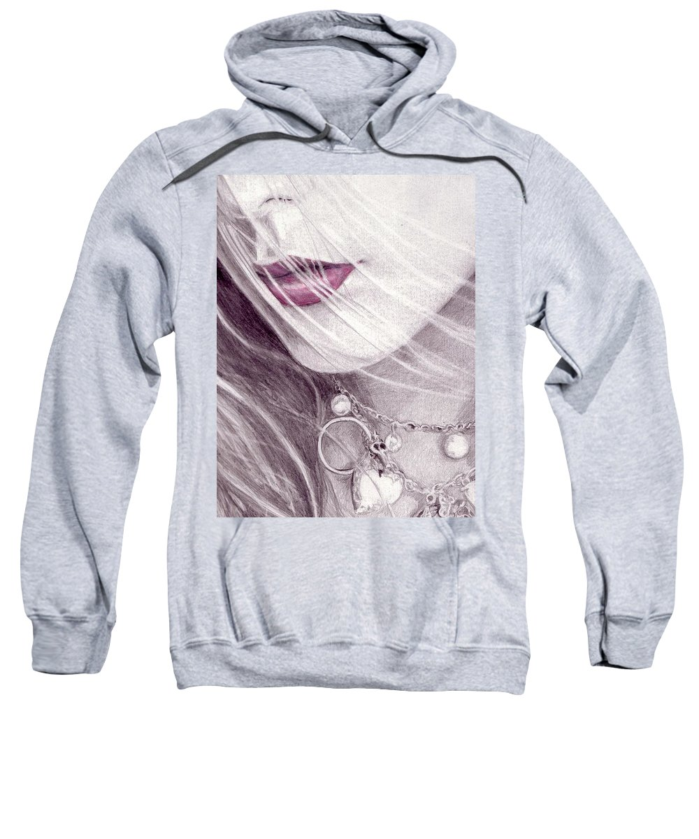Lips Sweatshirt featuring the drawing Close Up by Kristopher VonKaufman