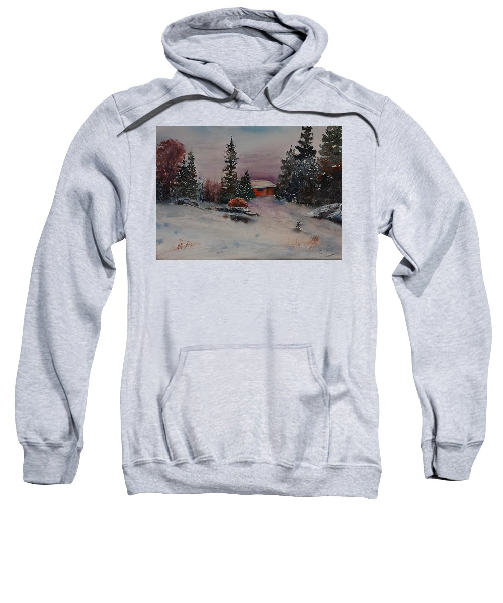 Cottage Sweatshirt featuring the painting Closed For The Season by Ruth Kamenev