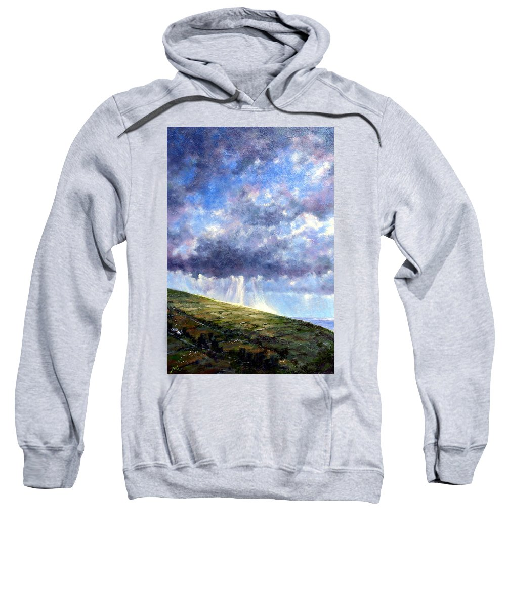 Oil Painting Sweatshirt featuring the painting Cloud Burst Ireland by Jim Gola