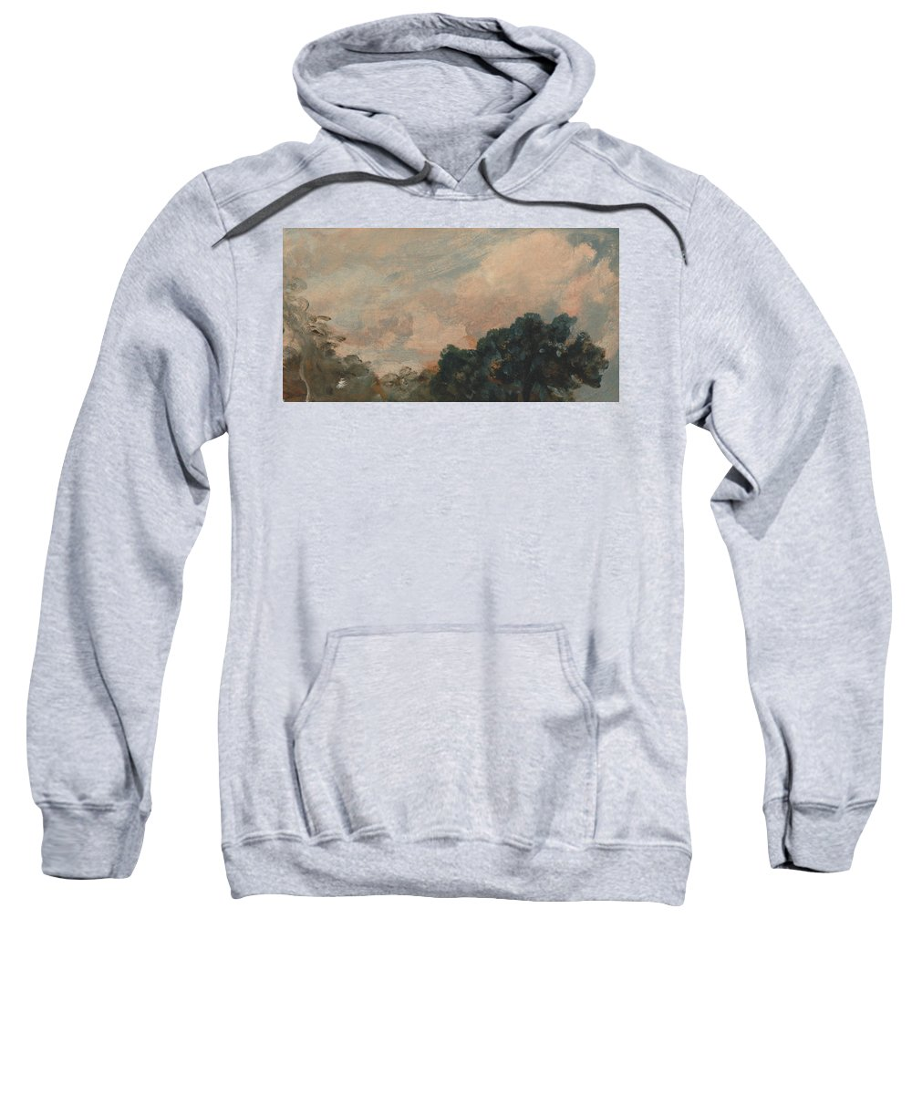 English Romantic Painters Sweatshirt featuring the painting Cloud Study With Trees by John Constable