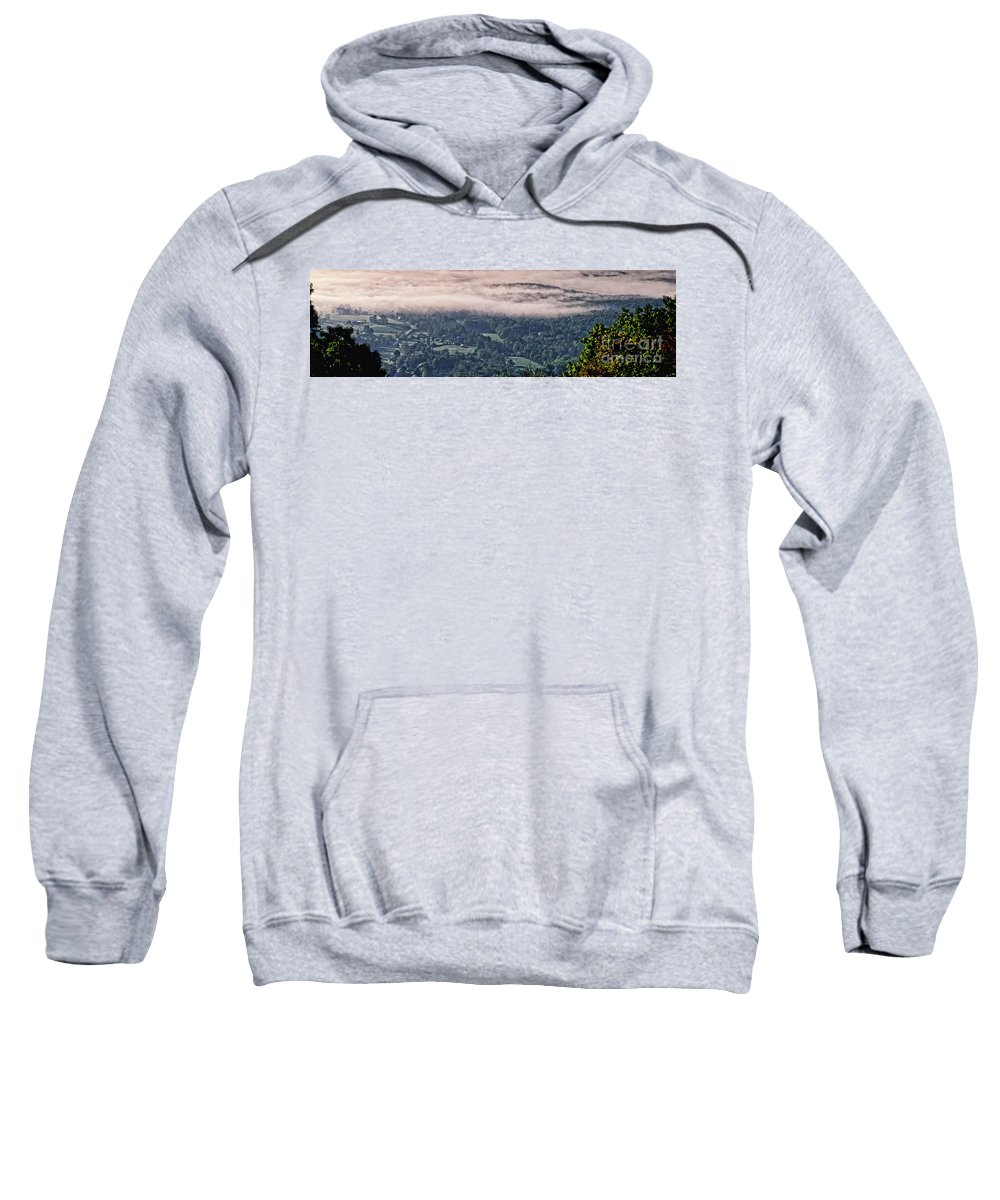 Valley Sweatshirt featuring the photograph Clouds Above The Valley Panoramic by Doug Berry
