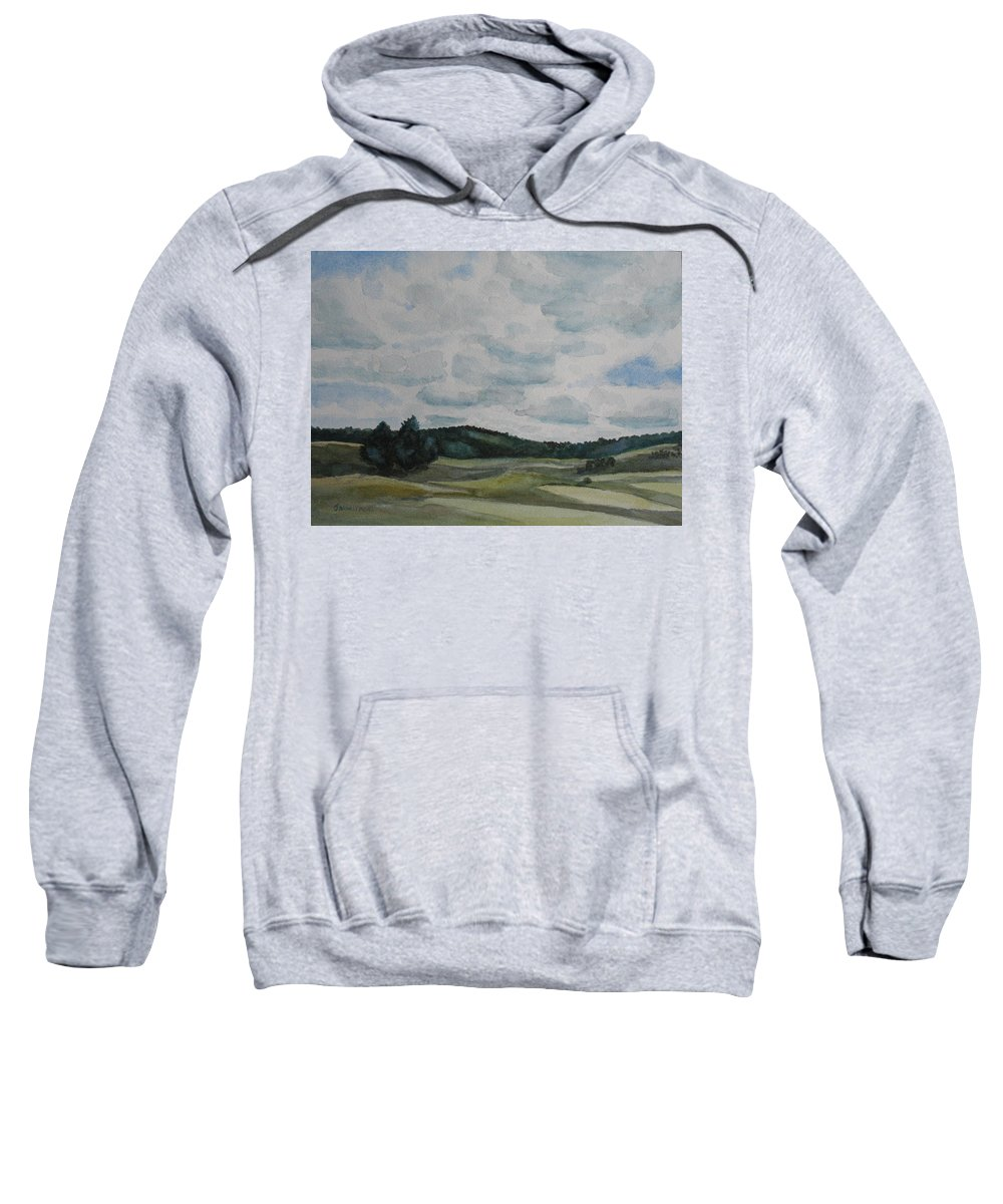 Mountains Sweatshirt featuring the painting Clouds Over Boot Hill by Jenny Armitage