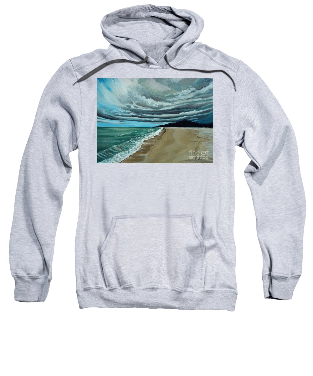 Landscape.beach Sweatshirt featuring the painting Clouds Rolling In by Elizabeth Robinette Tyndall