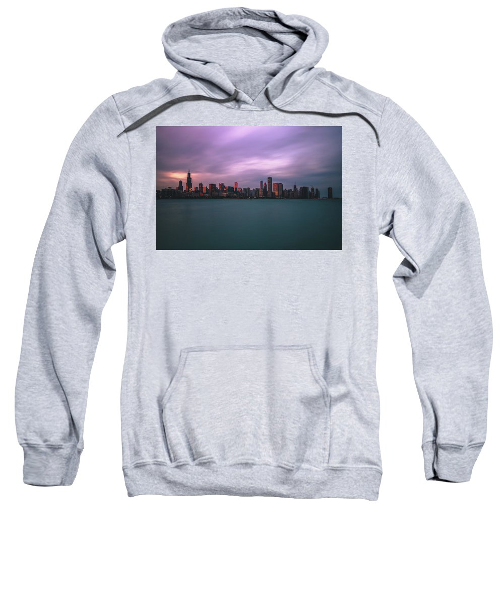 Chicago Sweatshirt featuring the photograph Cloudy Sunset Chicago Skyline by Jay Smith