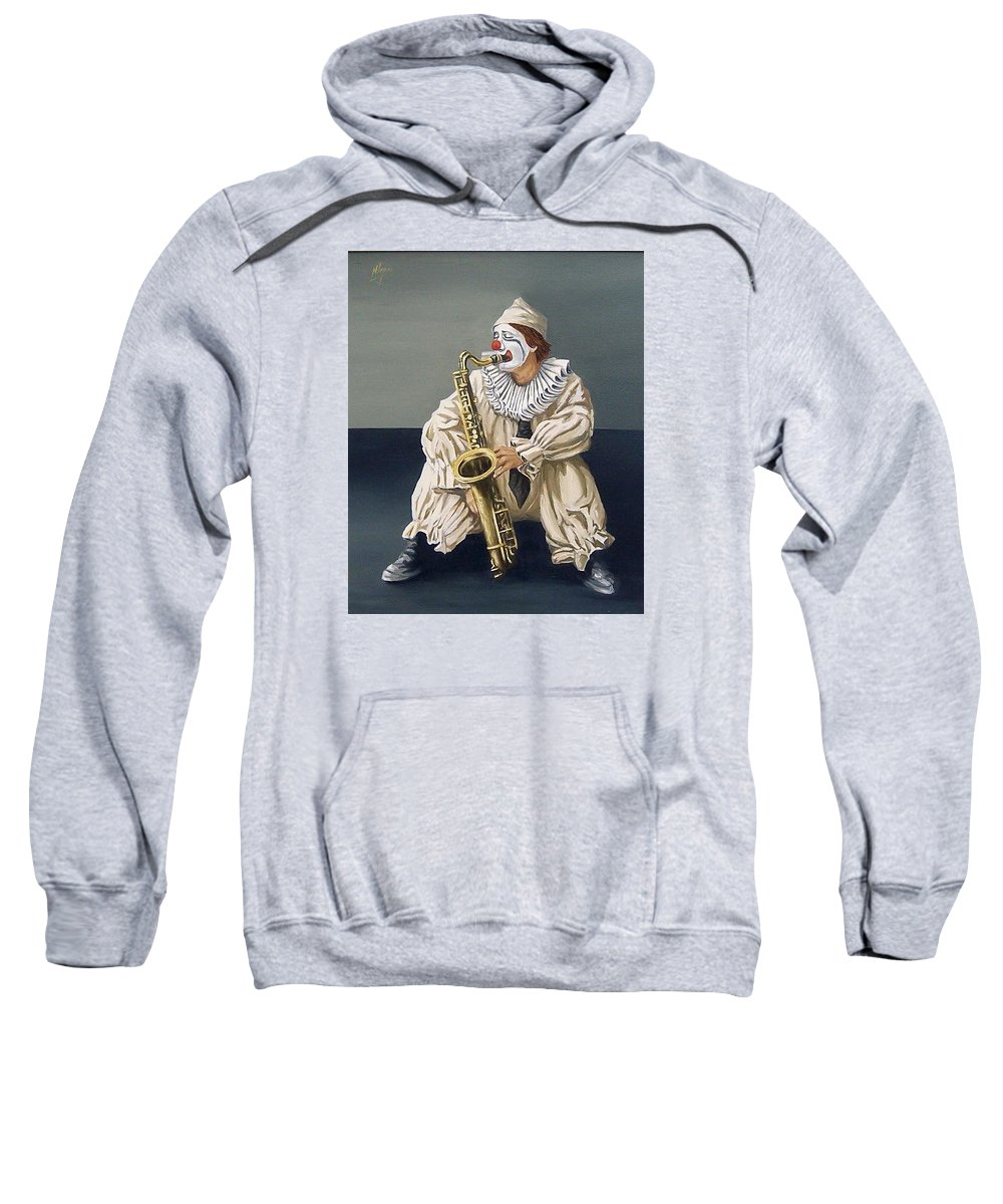 Clown Figurative Portrait People Sweatshirt featuring the painting Clown by Natalia Tejera