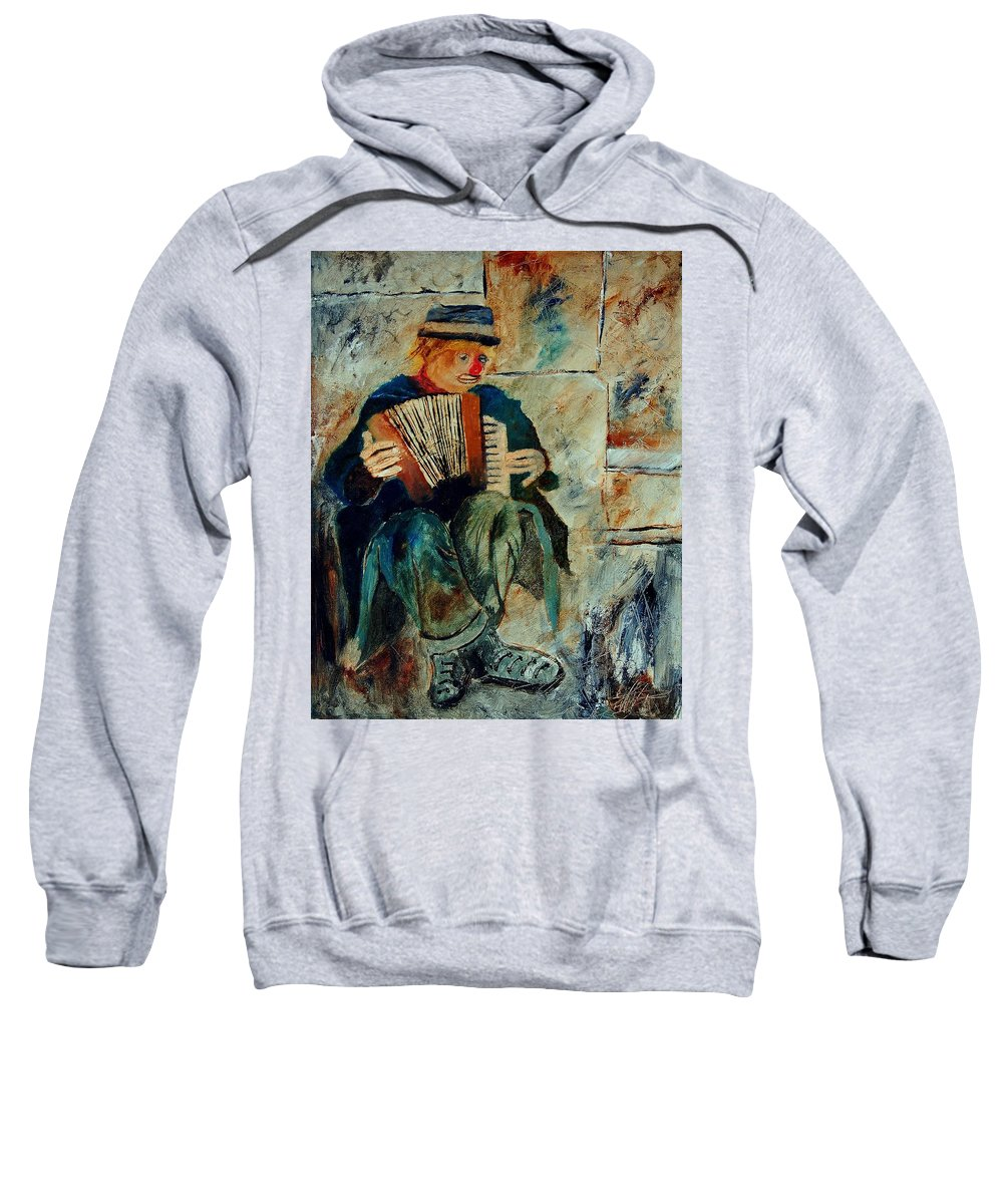 Music Sweatshirt featuring the painting Clown by Pol Ledent