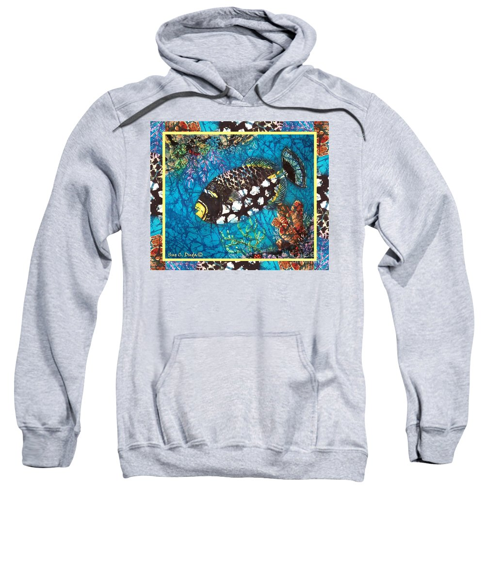 Batik Sweatshirt featuring the painting Clown Triggerfish-bordered by Sue Duda