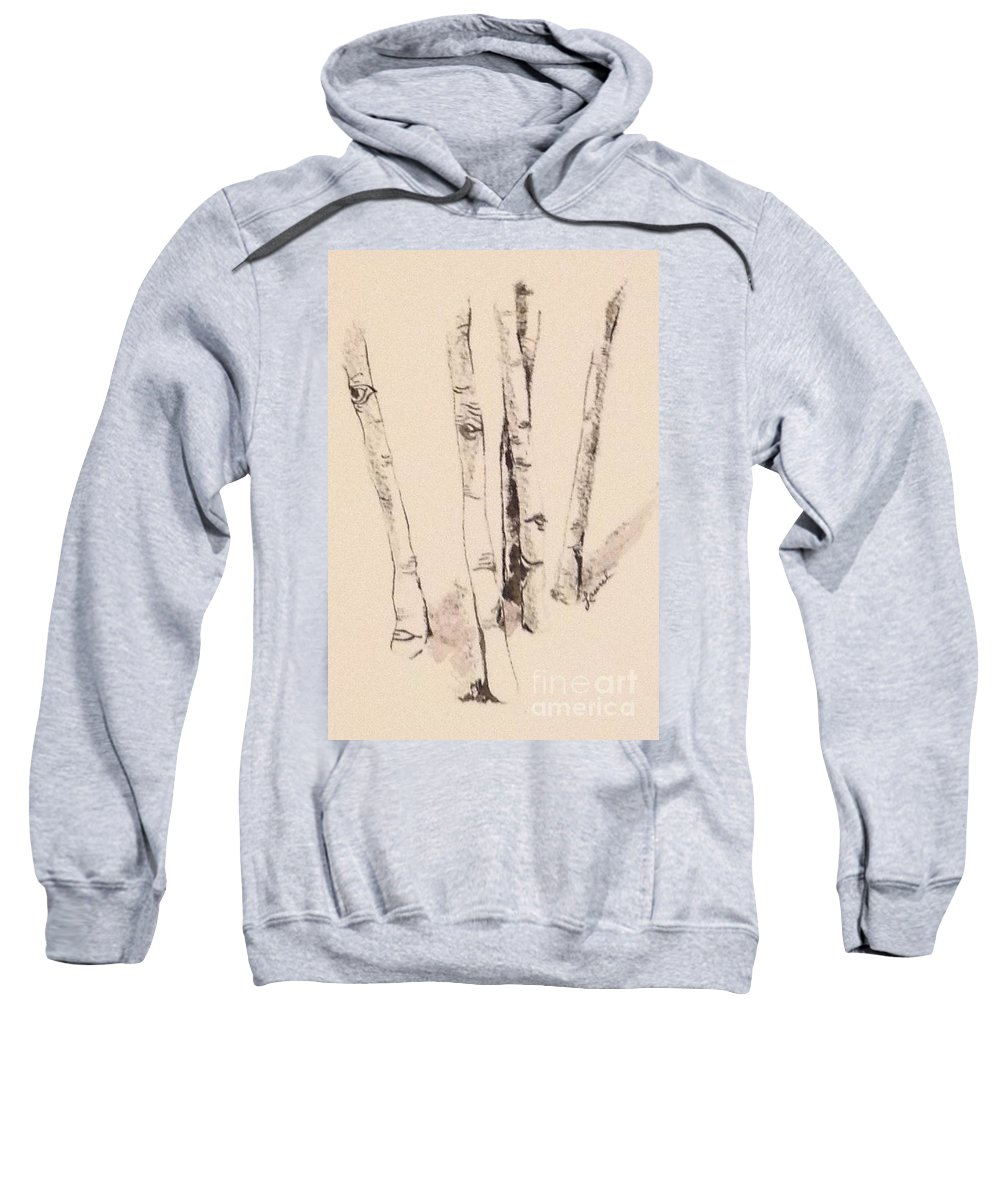 Chiaroscuro Sweatshirt featuring the painting Clump Of Birch In Winter by Laurel Adams