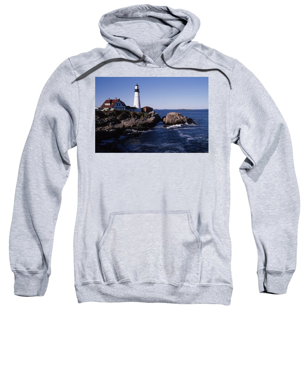 Landscape New England Lighthouse Nautical Coast Sweatshirt featuring the photograph Cnrf0910 by Henry Butz