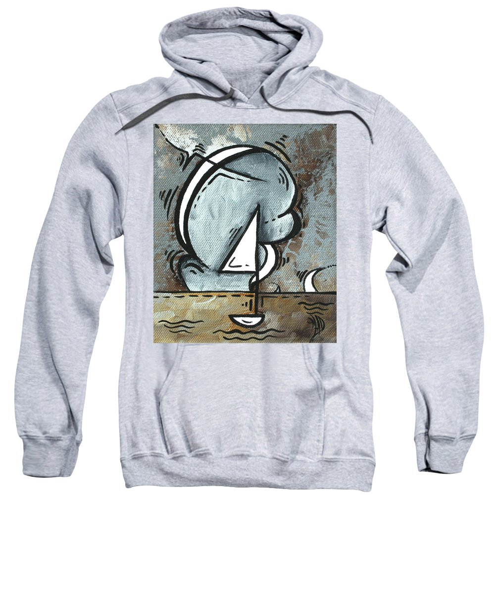 Coastal Sweatshirt featuring the painting Coastal Art Contemporary Sailboat Painting Whimsical Design Silver Sea I By Madart by Megan Duncanson