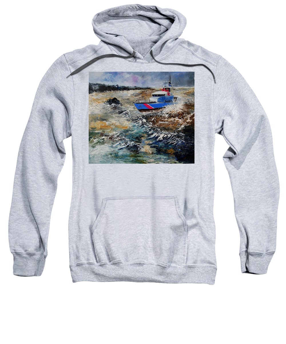 Sea Sweatshirt featuring the painting Coastguards by Pol Ledent