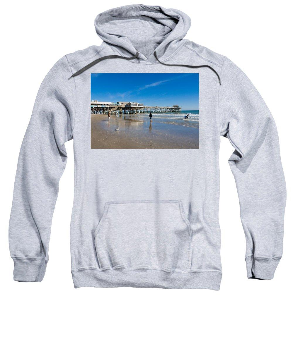 Florida; Cocoa; Beach; Atlantic; Ocean; East; Space; Coast; Brevard; Central; Pier; Surf; Surfing; F Sweatshirt featuring the photograph Cocoa Beach Florida by Allan Hughes