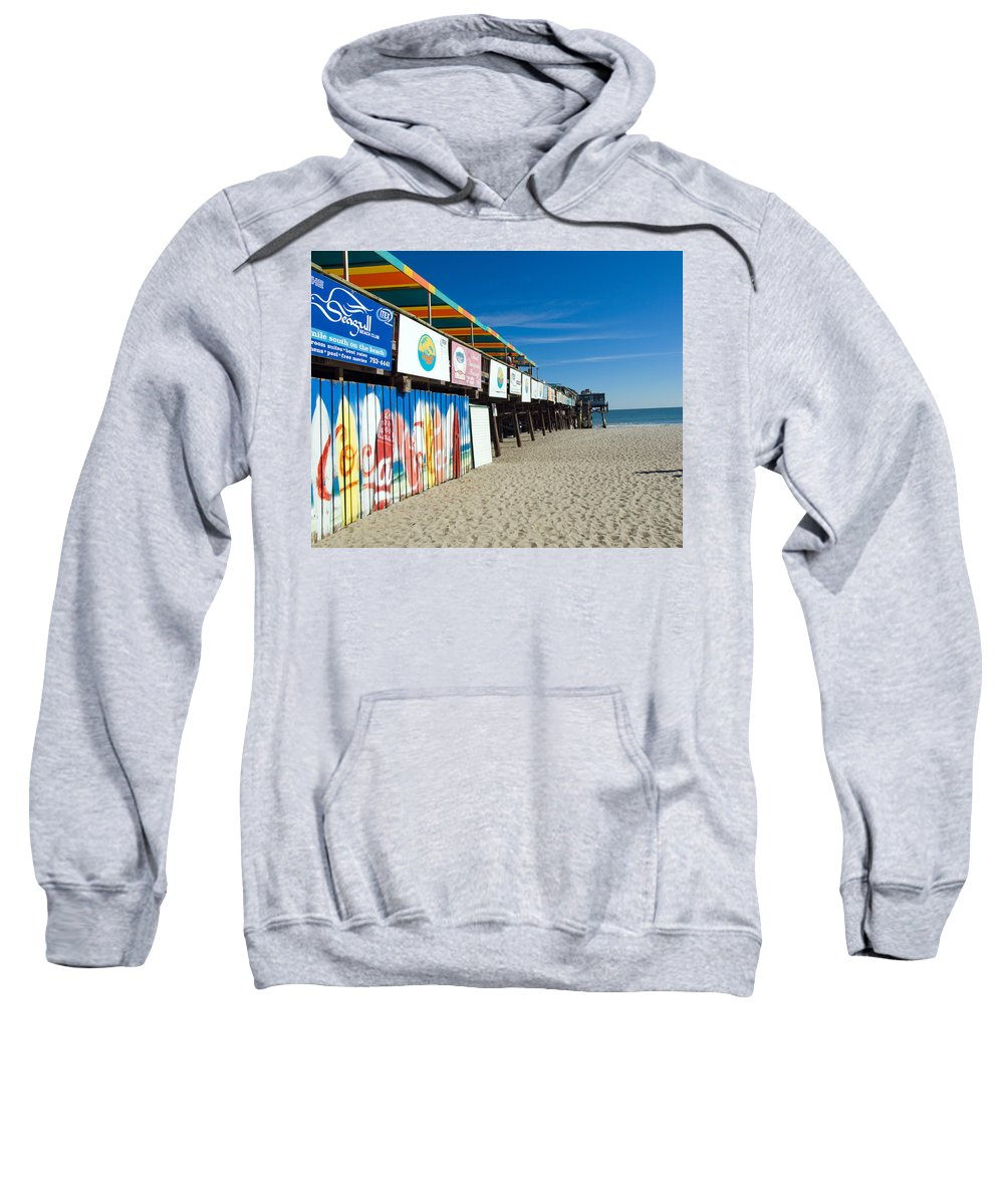Florida; Cocoa; Beach; Atlantic; Ocean; East; Space; Coast; Brevard; Central; Pier; Surf; Surfing; F Sweatshirt featuring the photograph Cocoa Beach Flotida by Allan Hughes