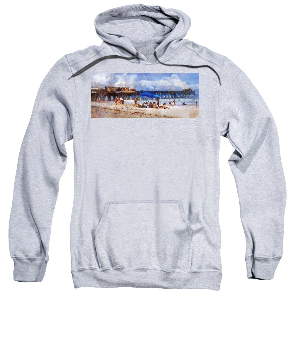 Vacation Sweatshirt featuring the digital art Cocoa Beach Pier by Francesa Miller