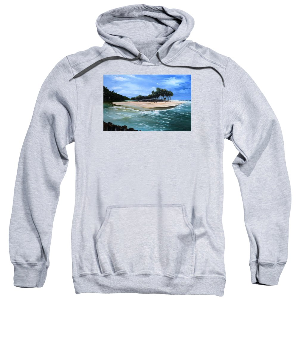 Ocean Paintings Sea Scape Paintings  Beach Paintings Palm Trees Paintings Water Paintings River Paintings  Caribbean Paintings  Tropical Paintings Trinidad And Tobago Paintings Beach Paintings Sweatshirt featuring the painting Cocos Bay Trinidad by Karin Dawn Kelshall- Best