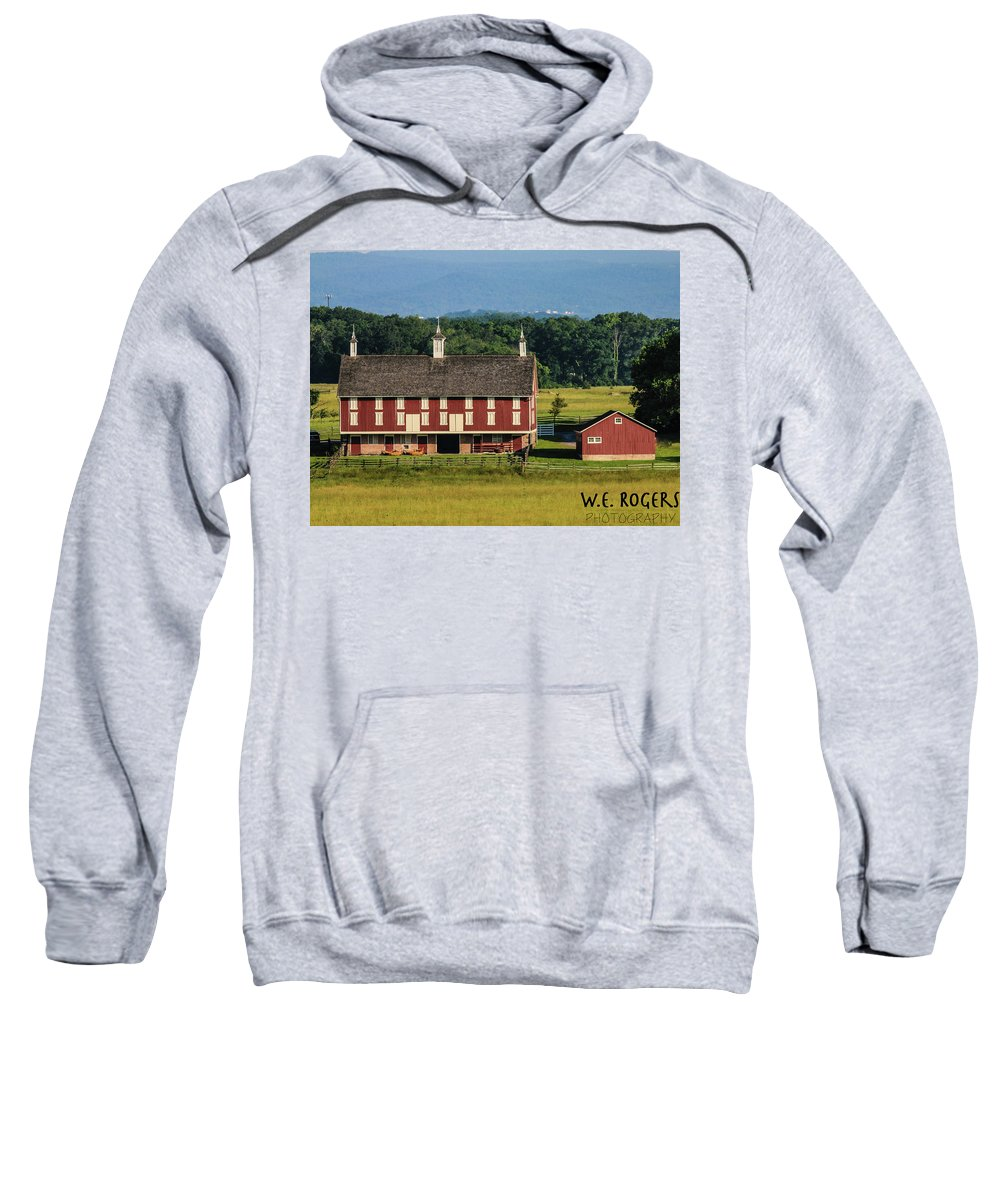 This Is A Photo Of The Codori Barn At The Gettysburg Battlefield Sweatshirt featuring the photograph Codori Barn by William Rogers