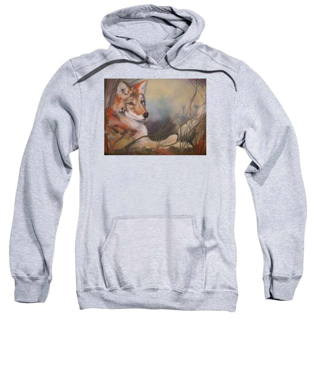 Coyote Sweatshirt featuring the pastel Cody by Marika Evanson