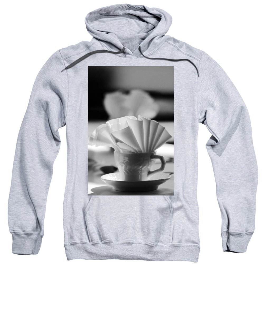 Black And White Sweatshirt featuring the photograph Coffee Cup Black And White by Jill Reger