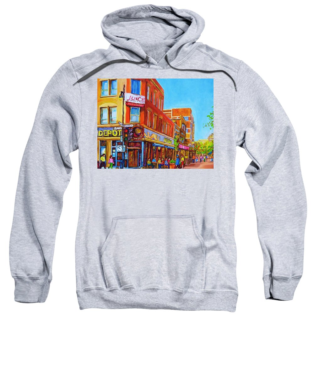 Cityscape Sweatshirt featuring the painting Coffee Depot Cafe And Terrace by Carole Spandau