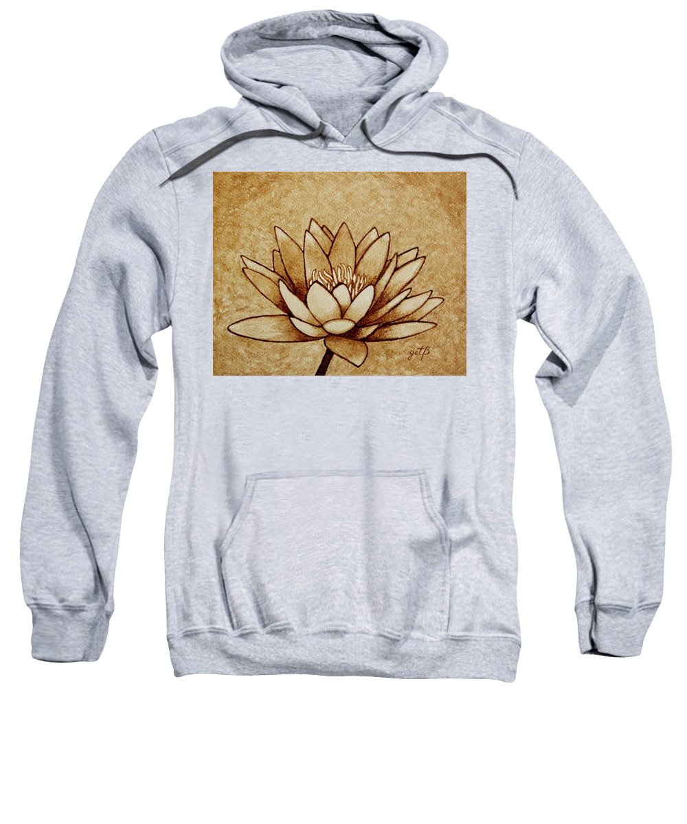 Water Lilly Painting With Coffee Sweatshirt featuring the painting Coffee Painting Water Lilly Blooming by Georgeta Blanaru