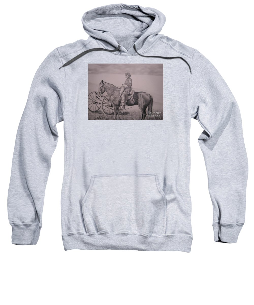 Western Sweatshirt featuring the drawing Colburn by John Huntsman