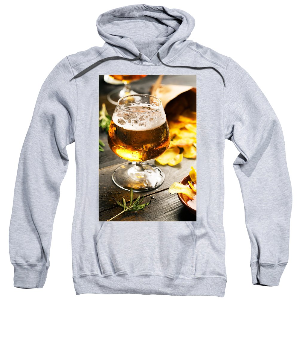 Vadim Goodwill Sweatshirt featuring the photograph Cold Beer And Delicious Snacks by Vadim Goodwill