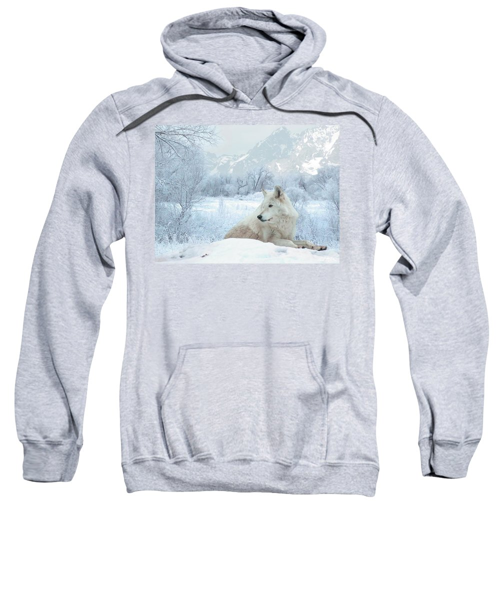 Wolves Sweatshirt featuring the mixed media Cold Longings by Bill Stephens