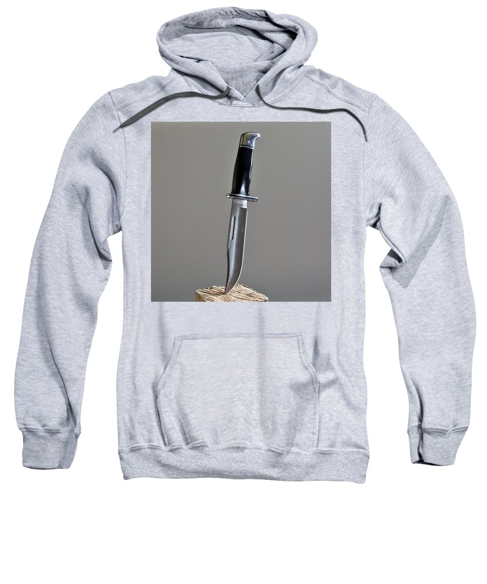 Cold; Steel; Stainless; Knife; Hunting; Hunt; Buck; Camping; Camp; Belt; Sheath; Sharp; Cut; Cutting Sweatshirt featuring the photograph Cold Steel by Allan Hughes