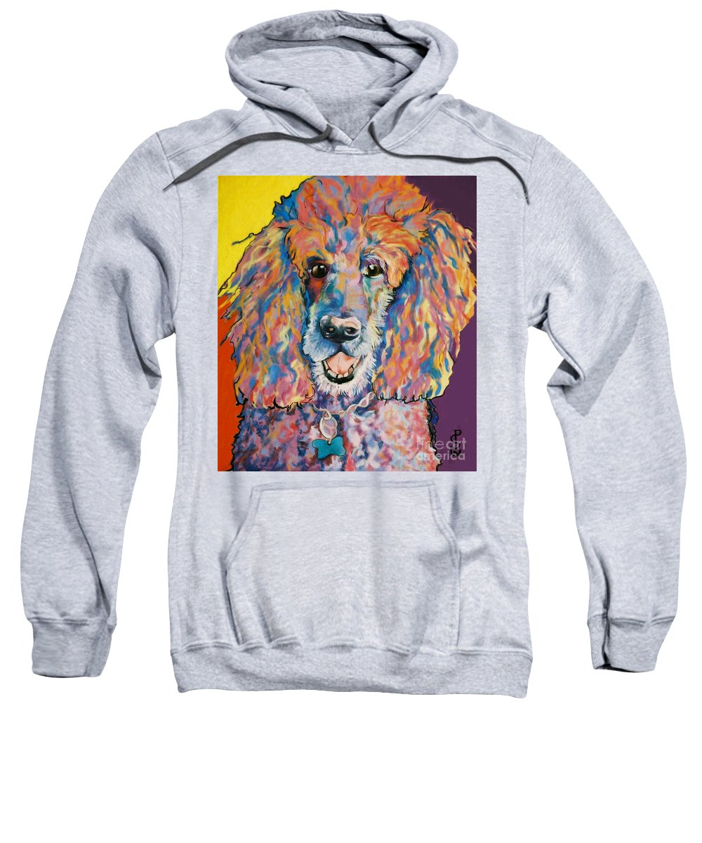 Standard Poodle Sweatshirt featuring the painting Cole by Pat Saunders-White