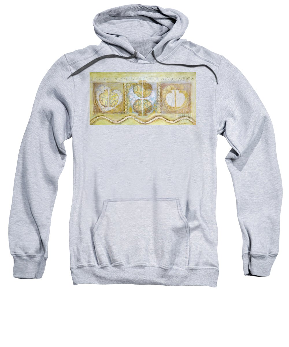 Symbolism Sweatshirt featuring the painting Collective Unconscious Three Equals One Equals Enlightenment by Kerryn Madsen- Pietsch