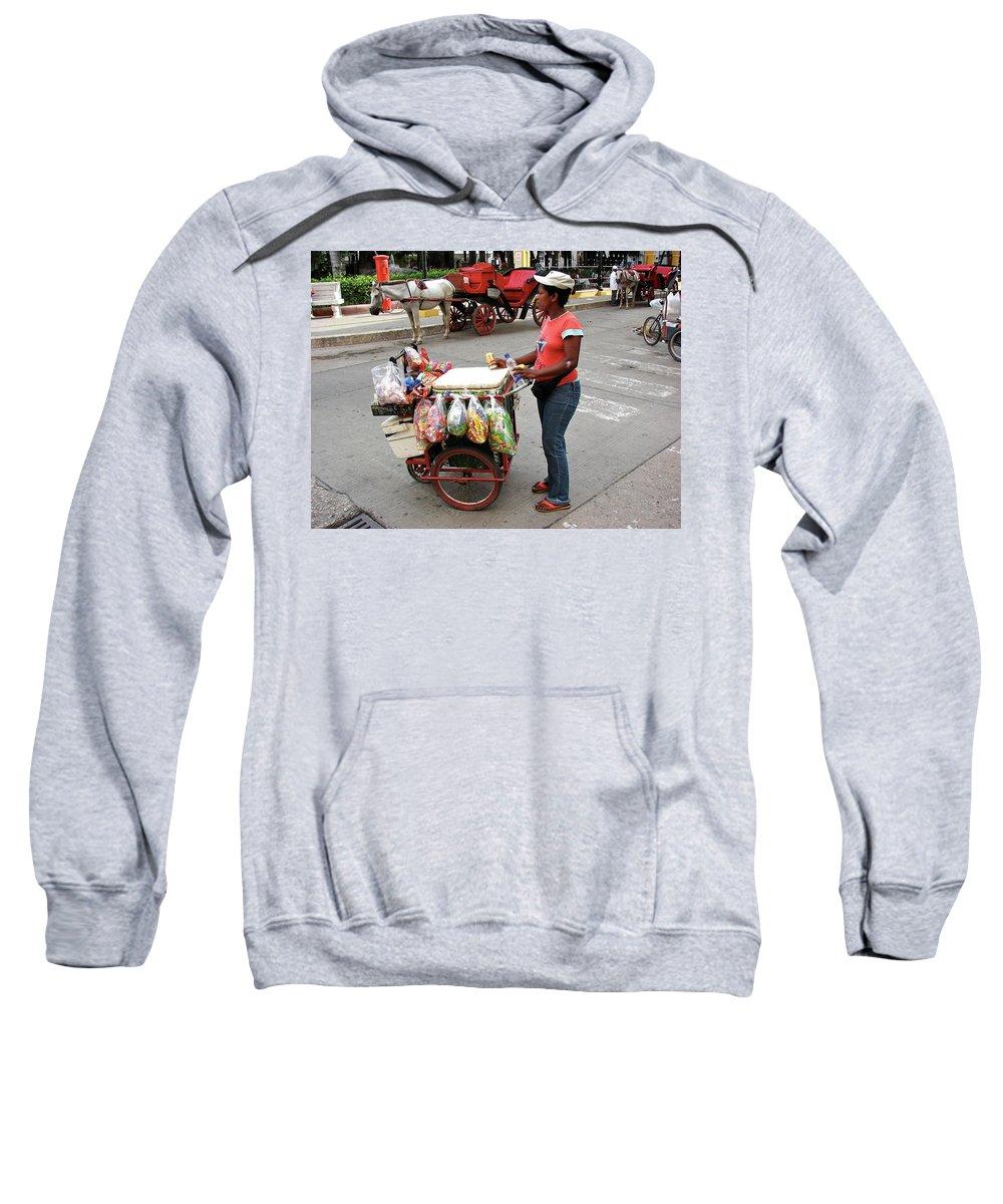 Colombia Sweatshirt featuring the photograph Colombia Srteet Cart by Brett Winn