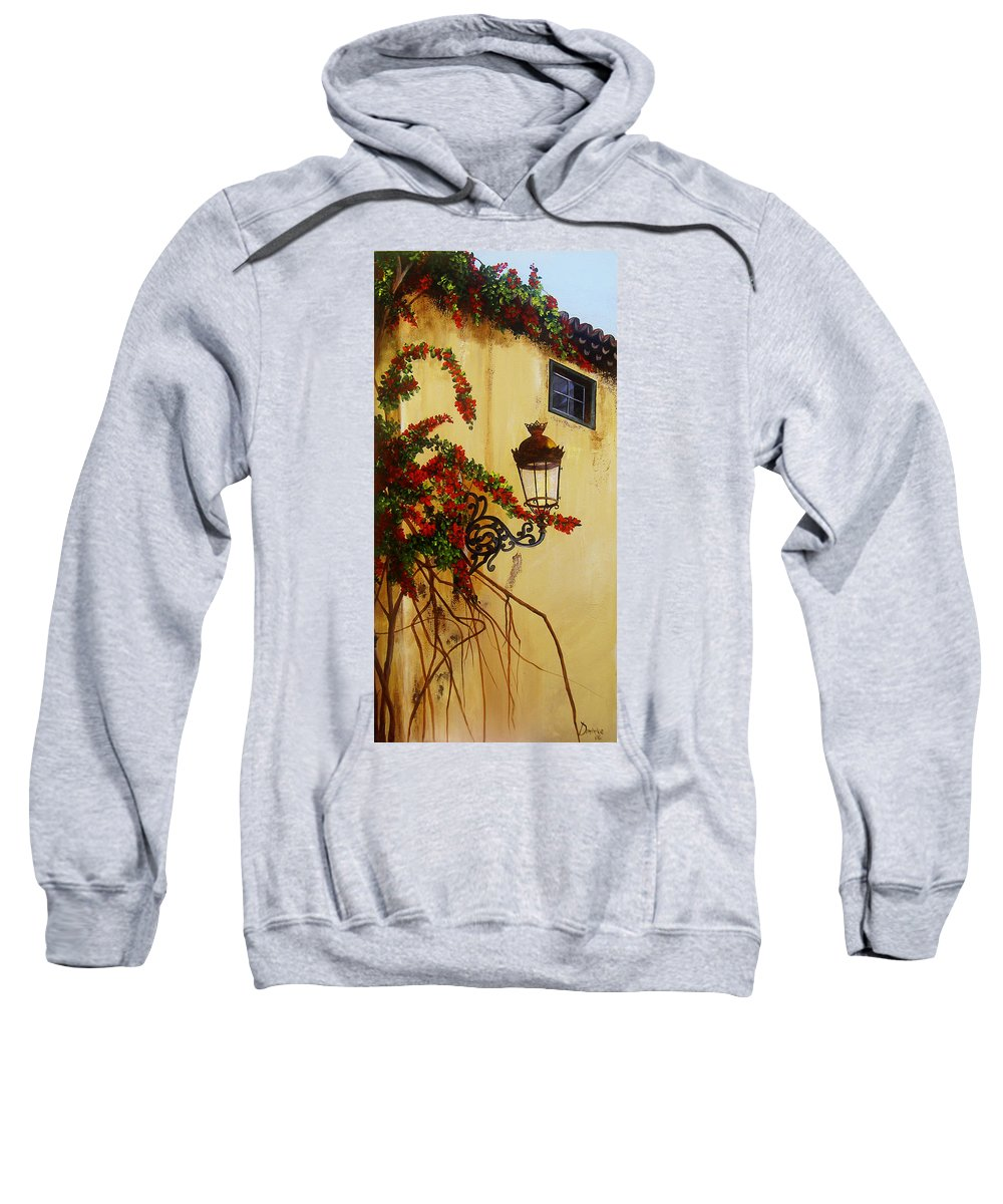 Cuban Painter Sweatshirt featuring the painting Colonial Corner by Dominica Alcantara