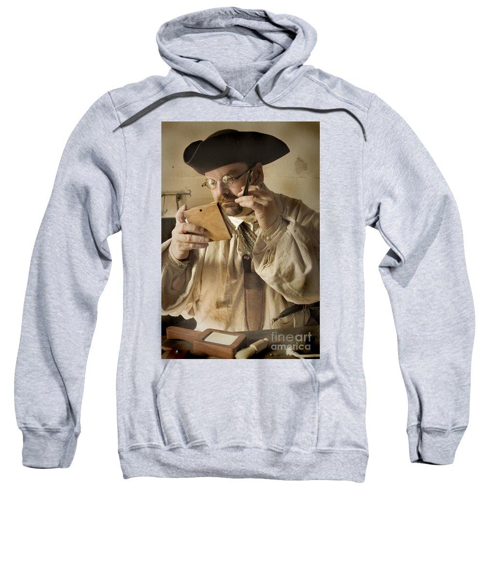 Primitive Sweatshirt featuring the photograph Colonial Man Shaving by Kim Henderson