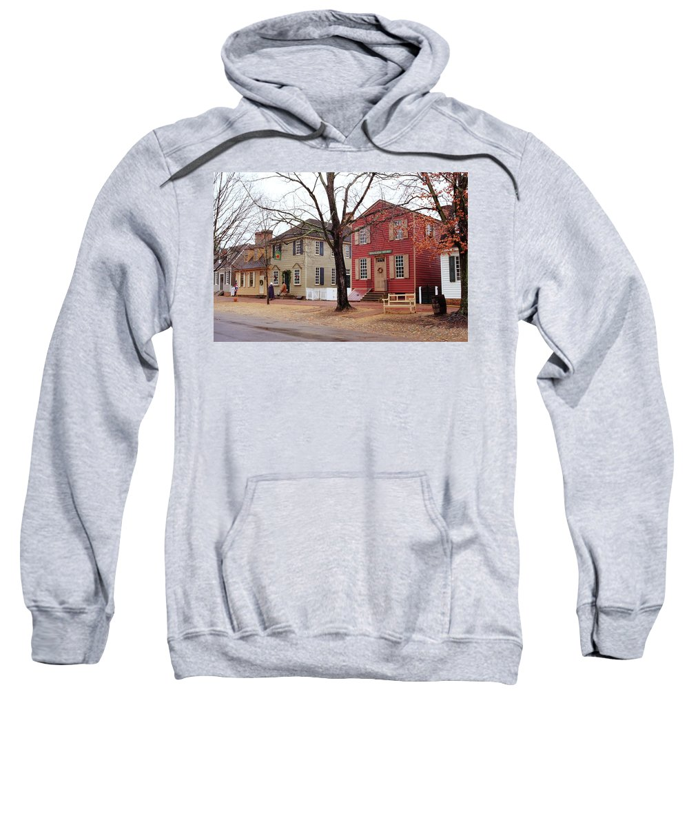 American Sweatshirt featuring the photograph Colonial Shops by Lou Ford