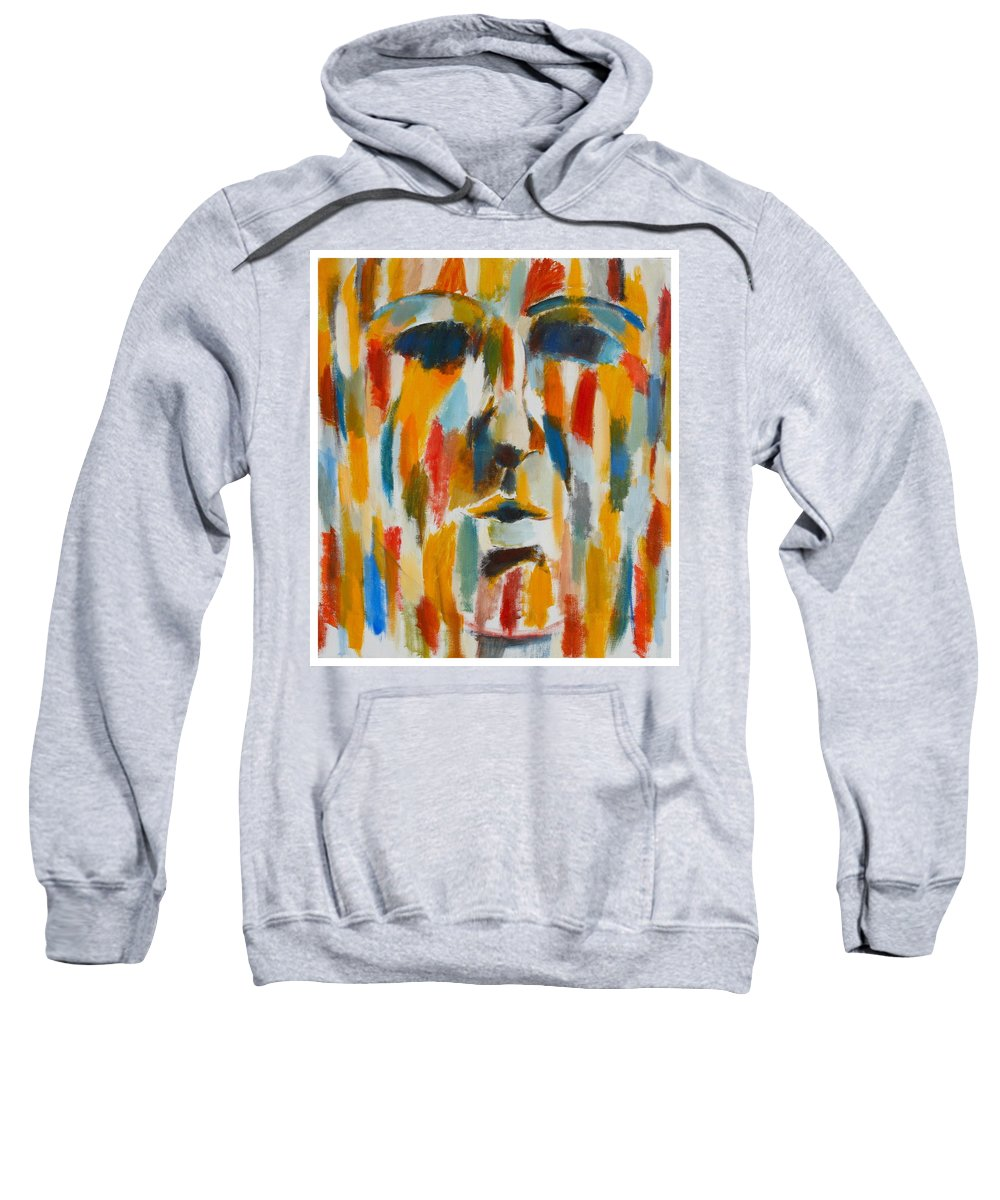 Yellow Sweatshirt featuring the painting Color Blind by Habib Ayat