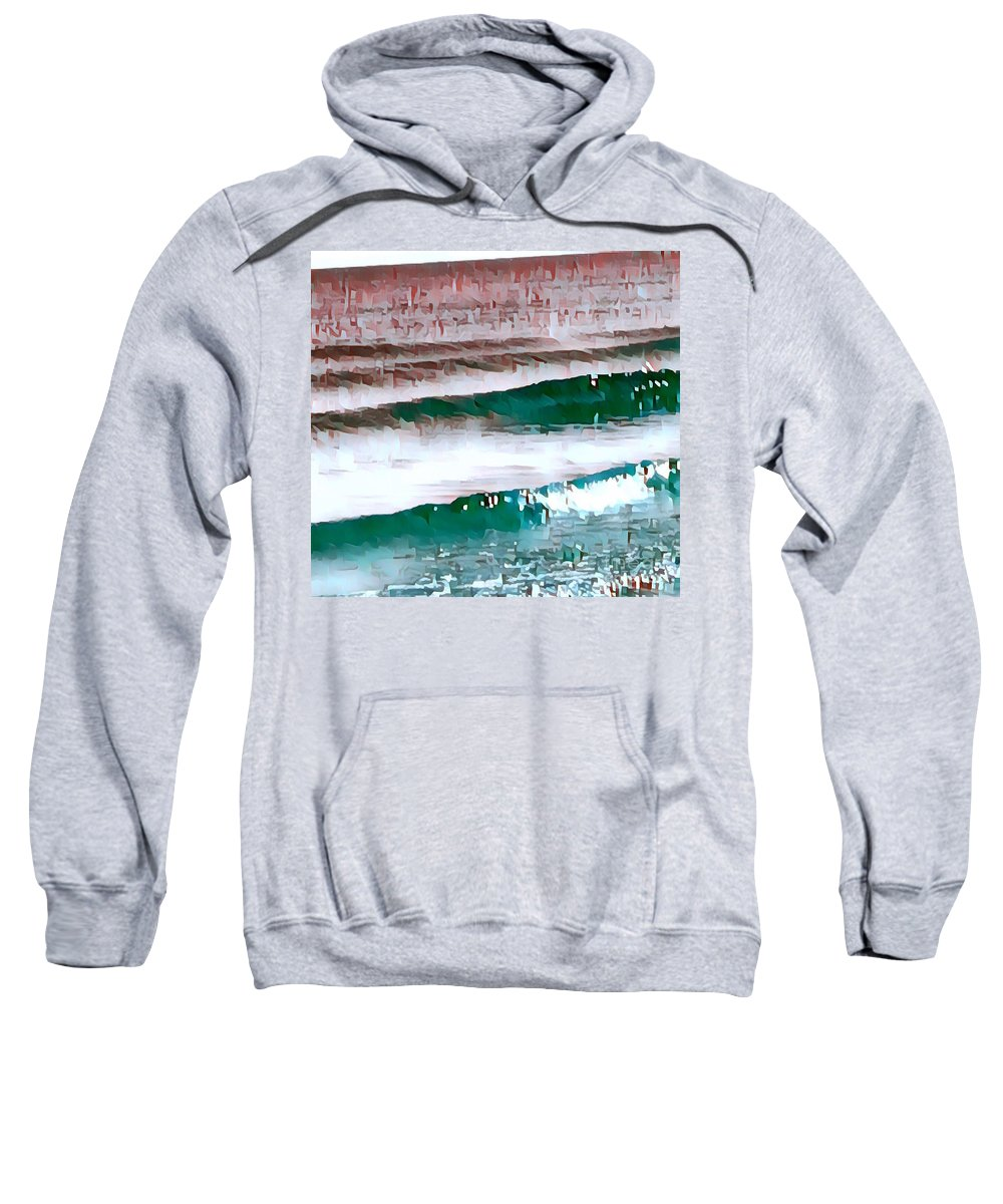 Water Sweatshirt featuring the digital art Color Movement-turquoise And Red by Brenda Plyer