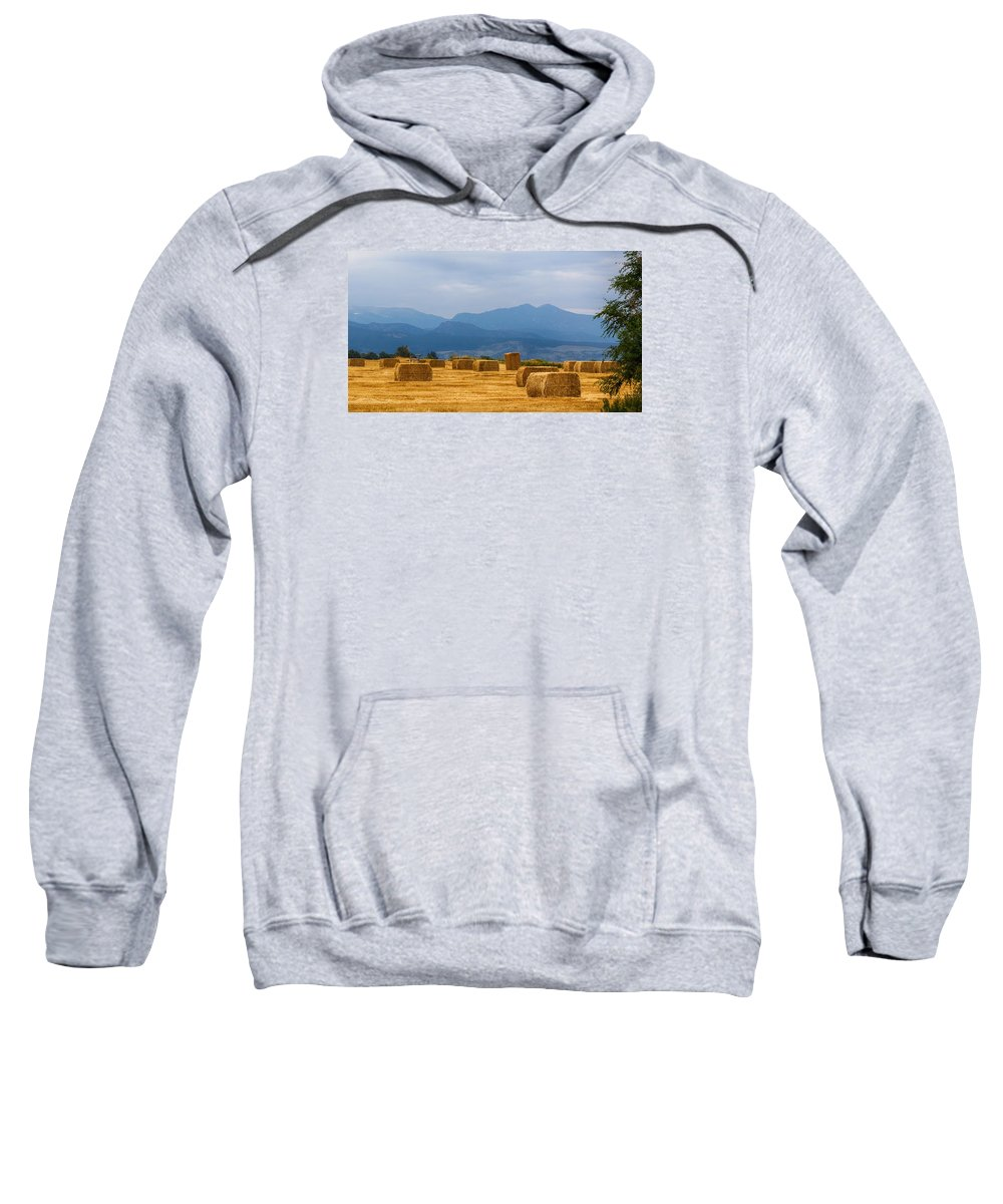 Mountains Sweatshirt featuring the photograph Colorado Agriculture Farming Panorama View Pt 2 by James BO Insogna