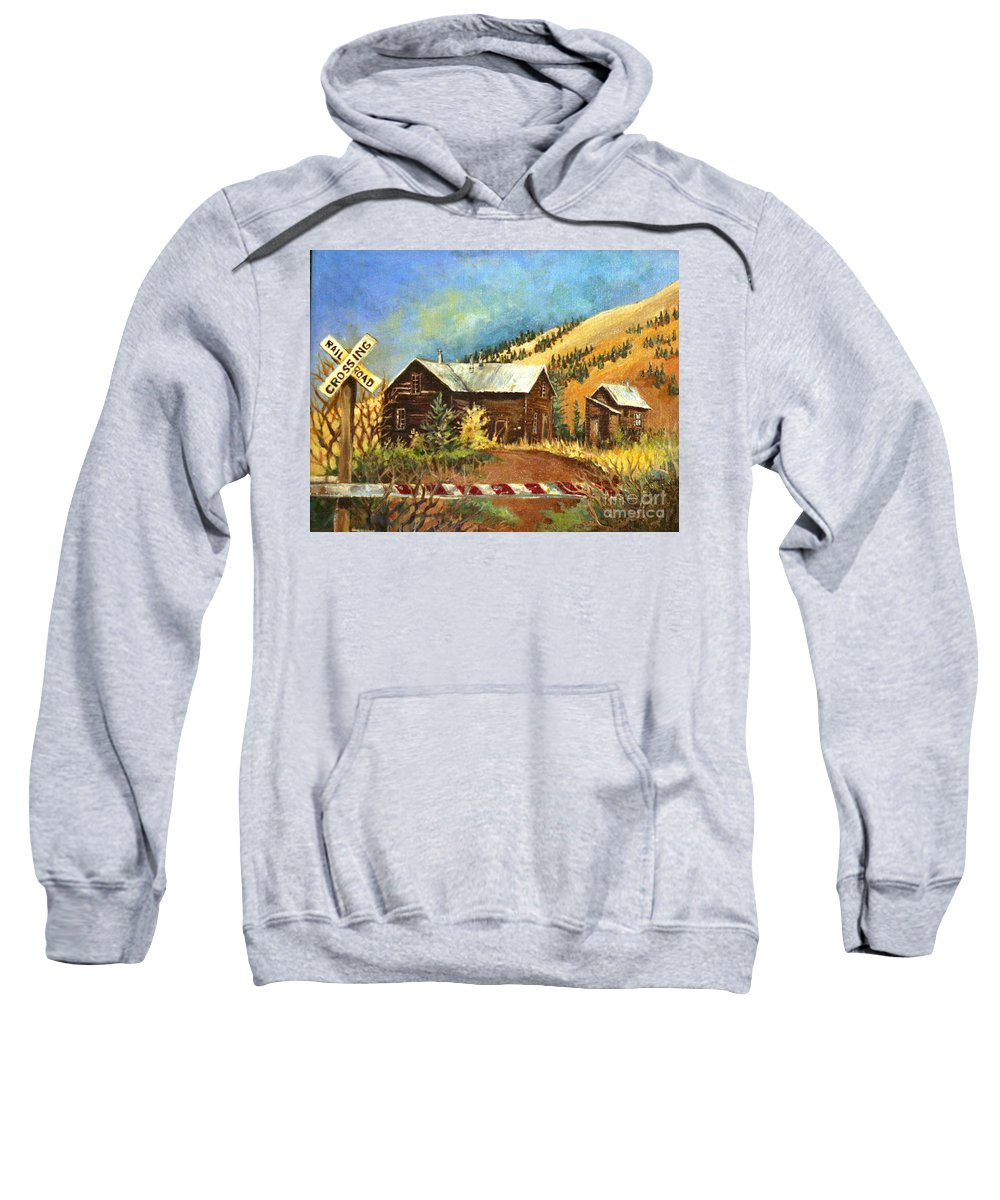 House Sweatshirt featuring the painting Colorado Shed by Linda Shackelford