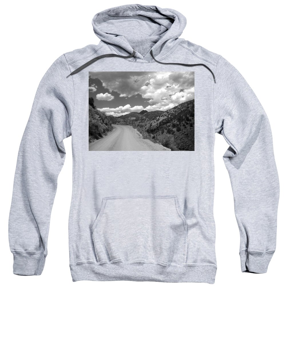 Colorado Sweatshirt featuring the photograph Colorado Shelf Road 1 B-w by Anita Burgermeister