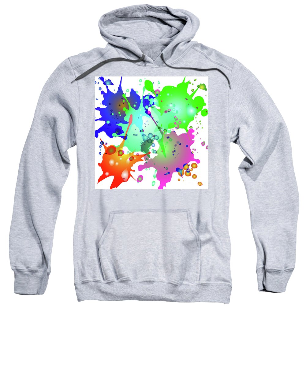 Colored Splashes On A Blue Background Sweatshirt featuring the digital art Colored Splashes On A Blue Background by Artur Sharakhimov