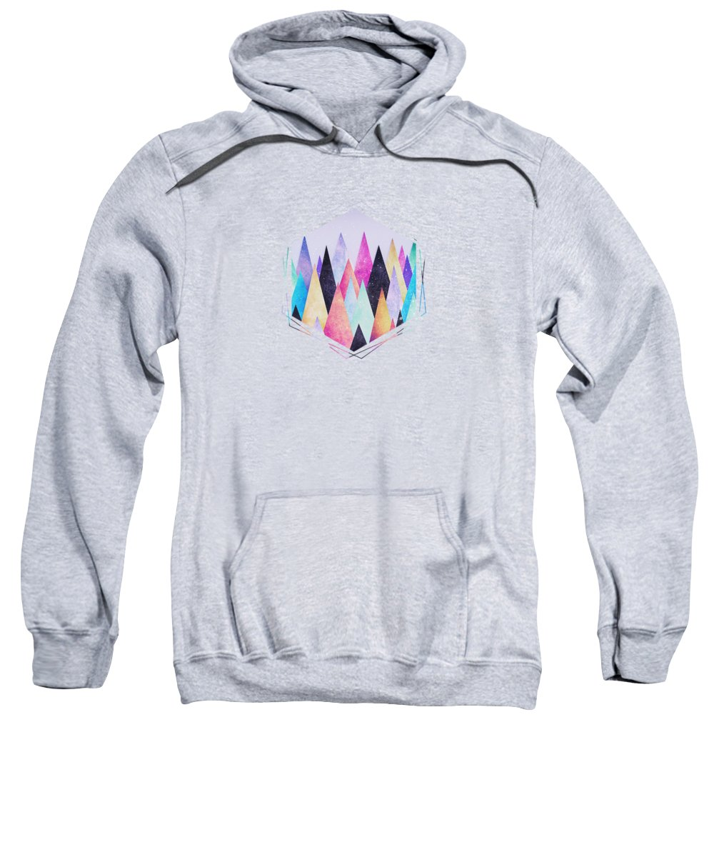 Peak Sweatshirt featuring the digital art Colorful Abstract Geometric Triangle Peak Woods by Philipp Rietz