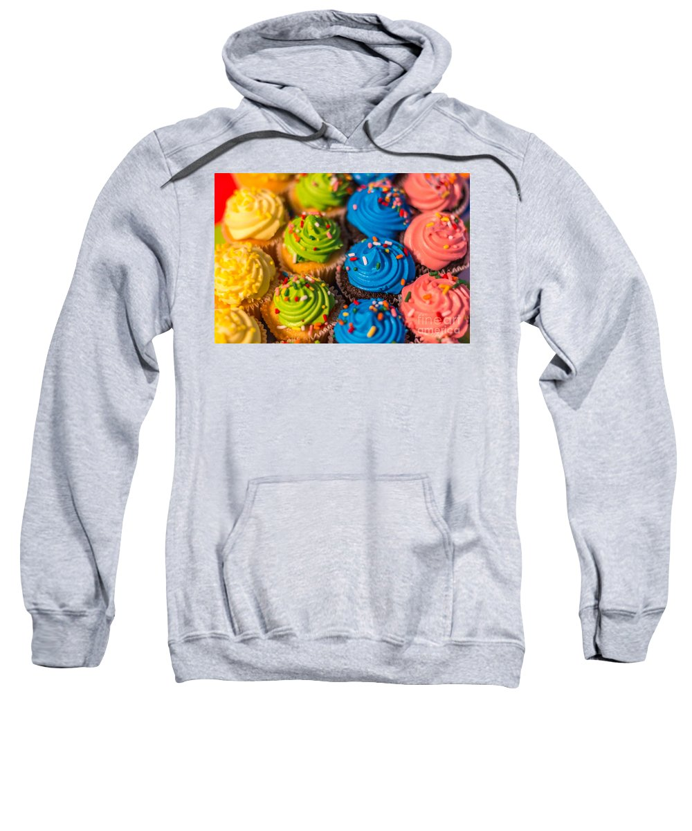 Food Sweatshirt featuring the photograph Colorful Cupcake by Pamela Williams