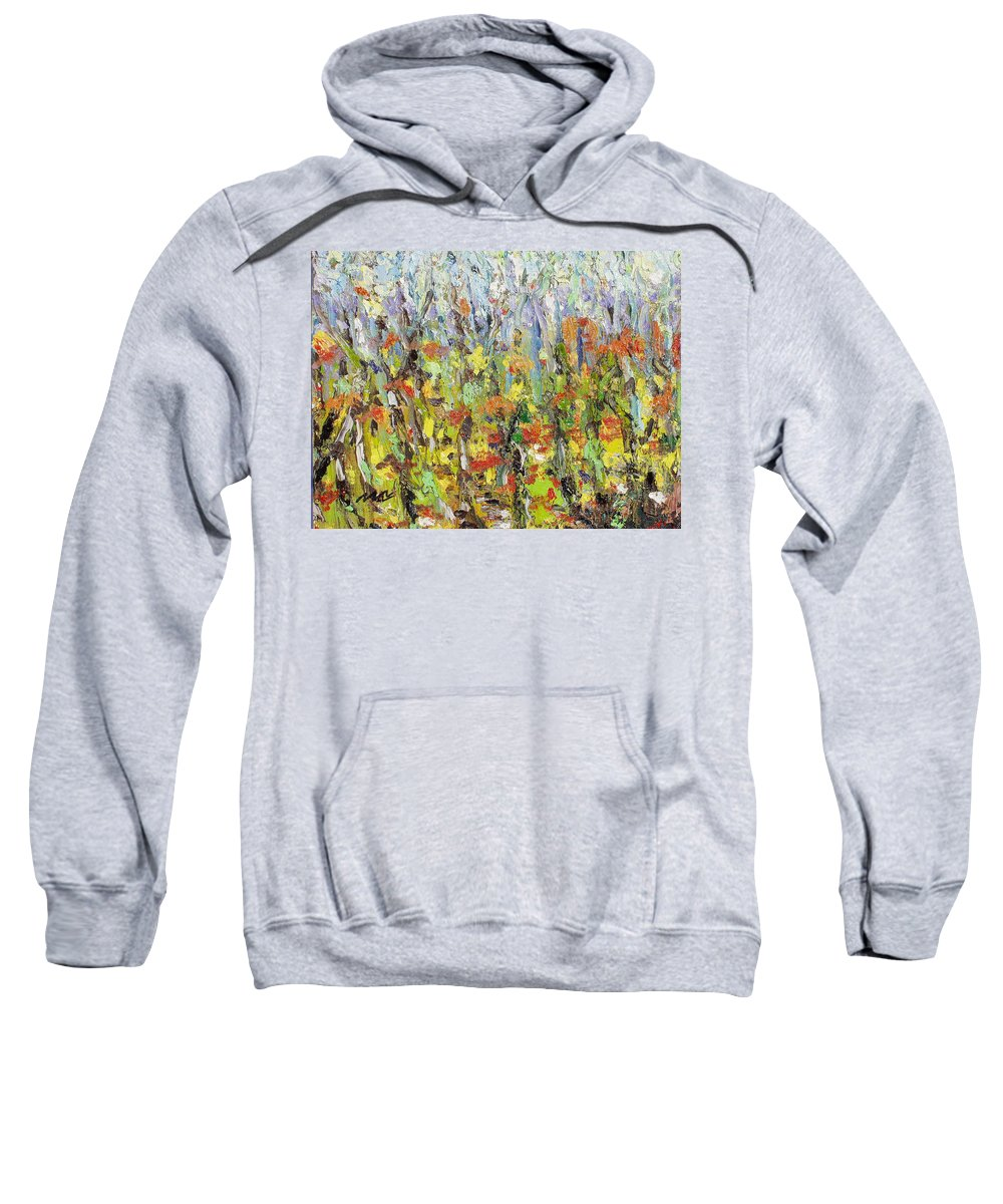 Autumn Abstract Paintings Sweatshirt featuring the painting Colorful Forest by Seon-Jeong Kim