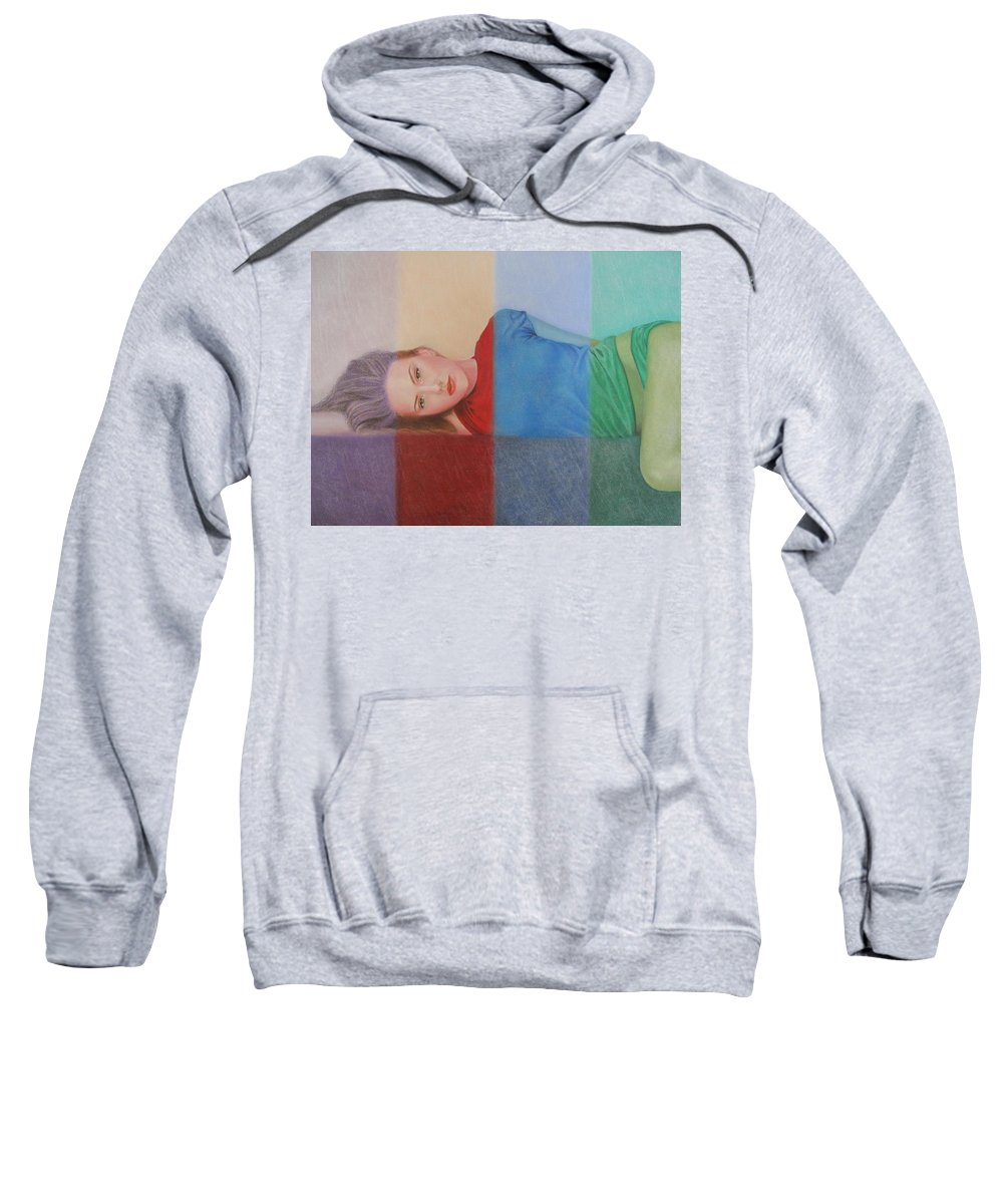 Woman Sweatshirt featuring the painting Colorful Girl by Lynet McDonald