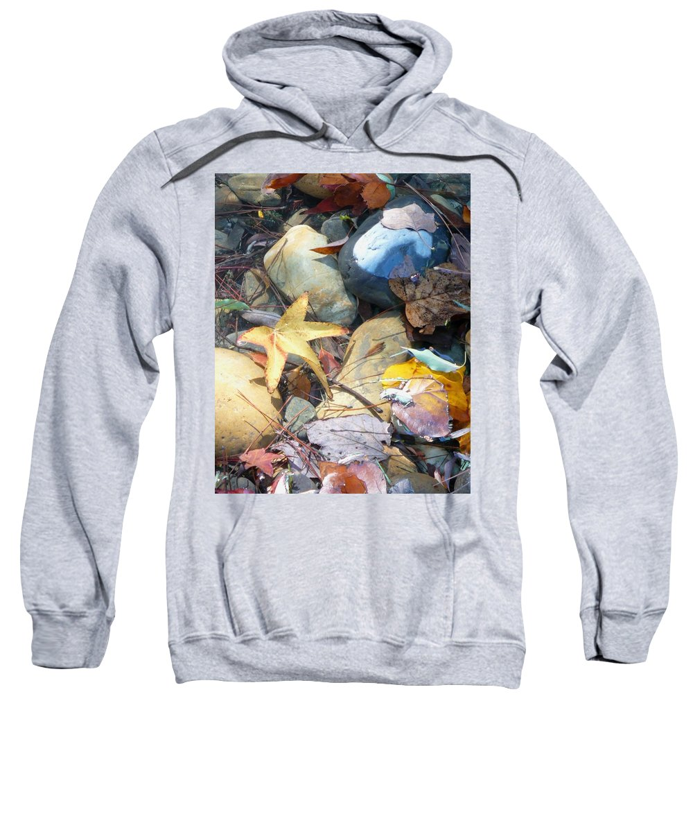 Leaves Sweatshirt featuring the photograph Colorful Leaves And Rocks In Creek by Carol Groenen