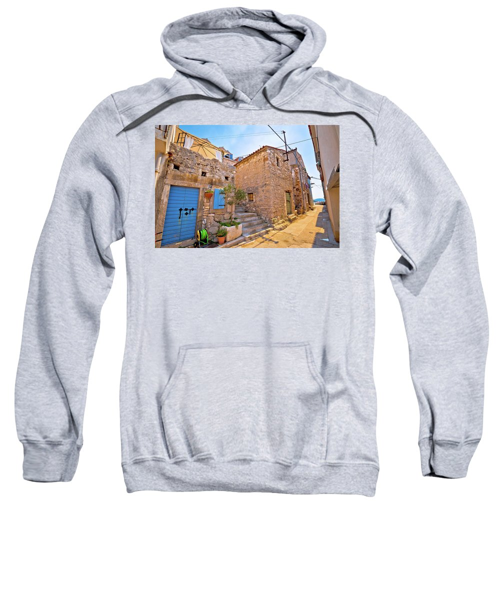 Prvic Sweatshirt featuring the photograph Colorful Mediterranean Stone Street Of Prvic Island by Brch Photography